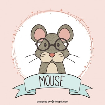 Hand drawn intellectual mouse with glasses