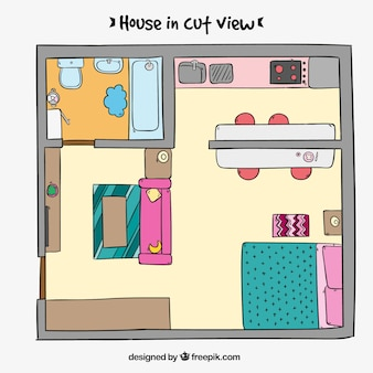 Hand drawn interior view of a house