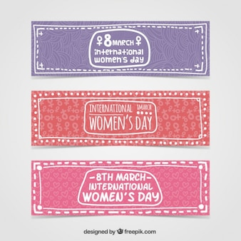 Hand drawn International Woman day banners