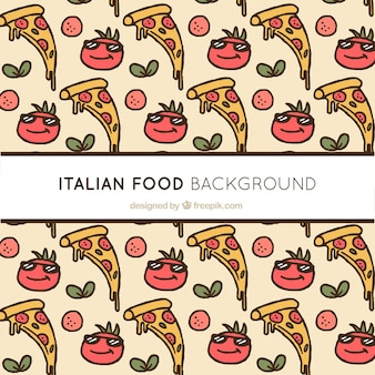 Hand drawn italian food background