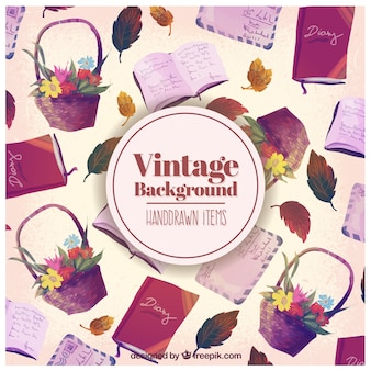 Hand drawn items background in vintage style