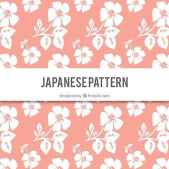 Hand drawn japanese flowers pattern