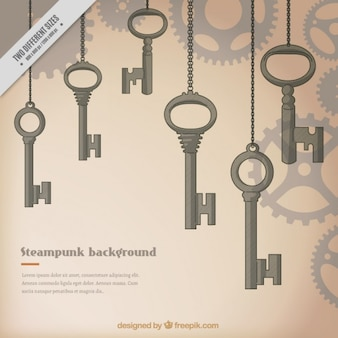 Hand drawn keys steampunk background