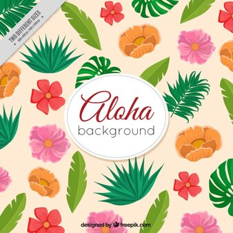 Hand drawn kind of tropical leaves and flowers background