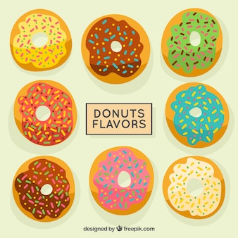 Hand drawn kinds of donuts