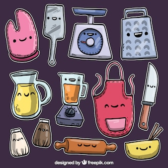 Hand drawn kitchen stuff in cartoon style