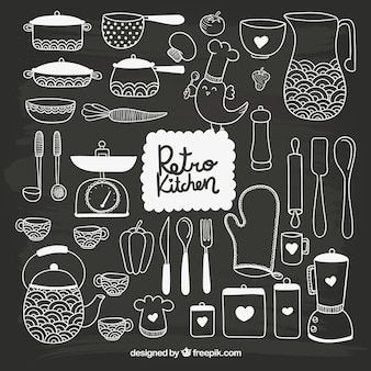 Hand drawn kitchenware in blackboard style