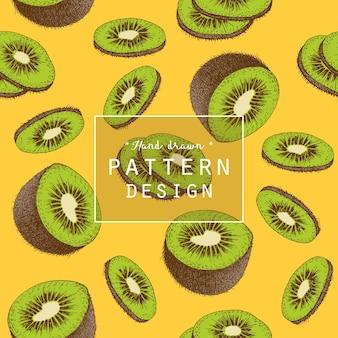 Hand drawn kiwi fruit pattern background