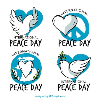 Hand drawn labels for international day of peace