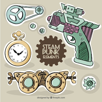 Hand drawn labels in steampunk style