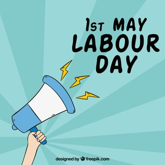 Hand drawn labour day megaphone background
