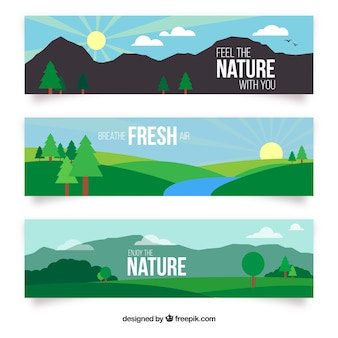 Hand drawn landscape with mountains banners