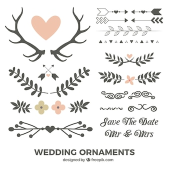 Hand drawn leaves and wedding ornaments