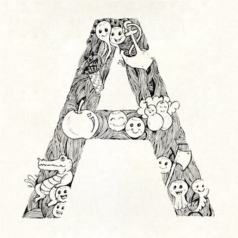 Hand drawn letter a background