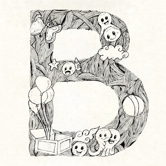 Hand drawn letter b background
