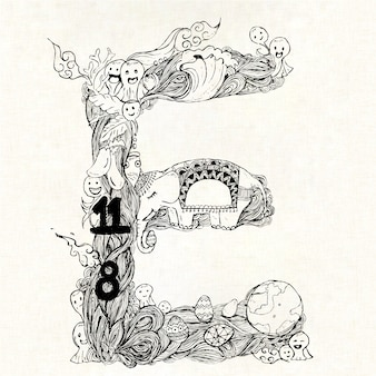 Hand drawn letter e background