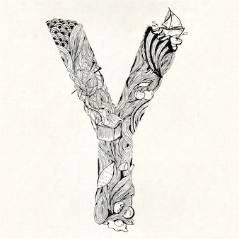 Hand drawn letter y background