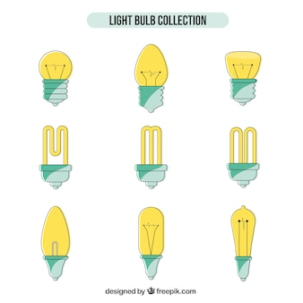 Hand drawn light bulbs collection