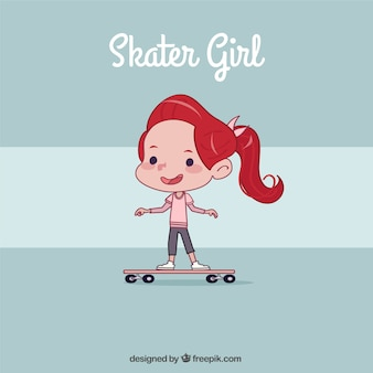 Hand drawn little girl with skateboard background