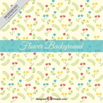 Hand drawn little leaves with flowers background