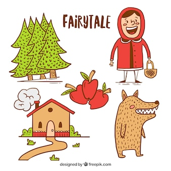 Hand drawn Little Red Riding Hood elements