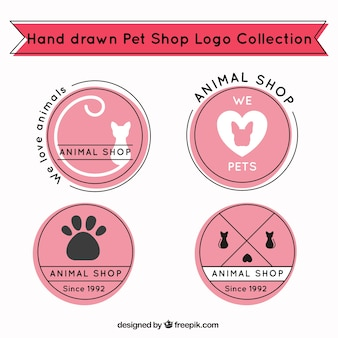 Hand-drawn logos with pink backgrounds