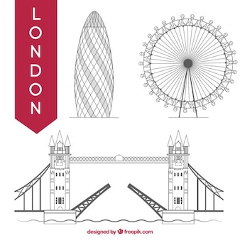 Hand drawn London monuments