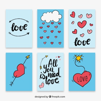 Hand drawn love card collection