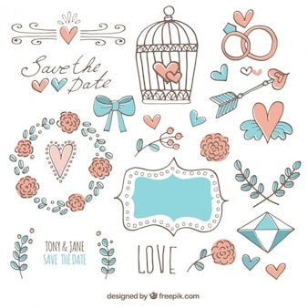 Hand drawn love elements in lovely style