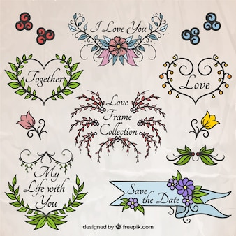 Hand drawn love floral frame collection