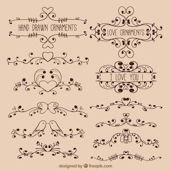 Hand drawn love ornaments