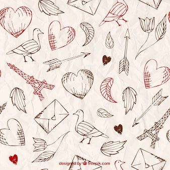 Hand drawn love pattern in retro style