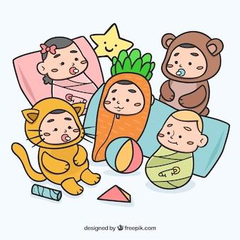 Hand drawn lovely babies wearing enjoyable customes
