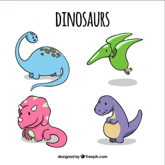 Hand drawn lovely baby dinosaurs in colors