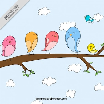 Hand drawn lovely birds on a branch background