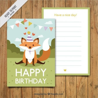 Hand drawn lovely fox card of birthday
