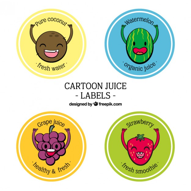 Hand drawn lovely fruit characters labels