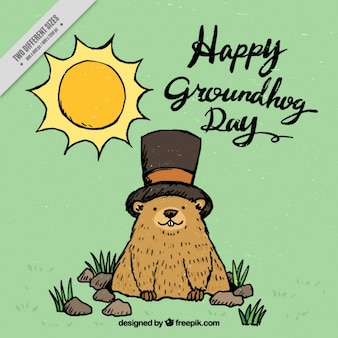 Hand drawn lovely groundhog day background