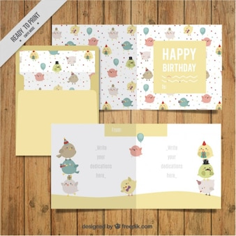Hand drawn lovely vintage cards with envelope