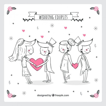 Hand drawn lovely wedding couples with hearts