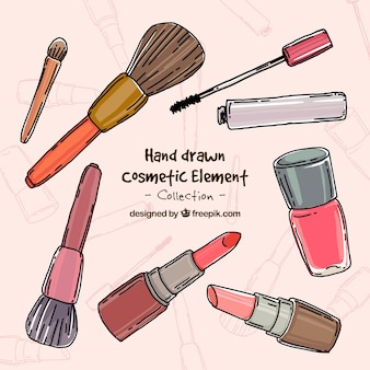 Hand drawn make-up accessories