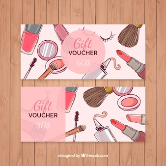 Hand drawn makeup gift vouchers