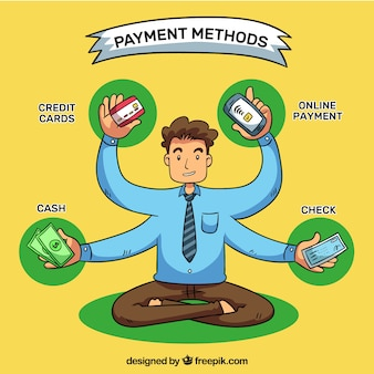 Hand drawn man with payment methods