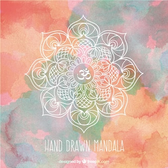 Hand drawn mandala on a watercolor splashes background