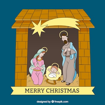 Hand drawn manger scene