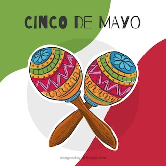Hand drawn maracas may five background