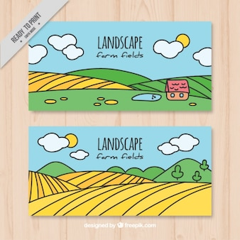 Hand drawn meadows banners