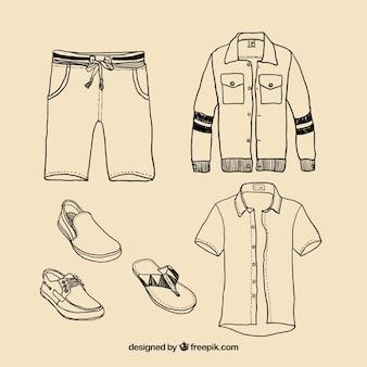 Hand drawn men's clothing
