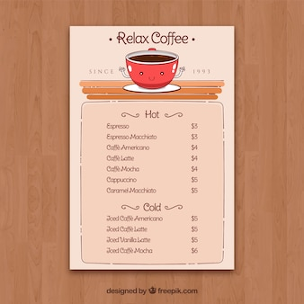Hand drawn menu for coffee shop