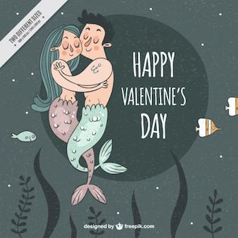Hand drawn mermaid couple background